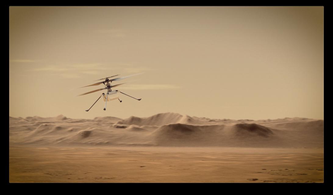 Künstlerische Darstellung des NASA-Hubschraubers Creativity Mars im Flug.