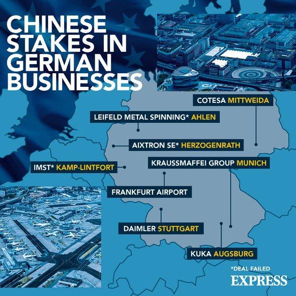 Karte von China und Deutschland: Kartierung der Quoten chinesischer Unternehmen in der deutschen Wirtschaft